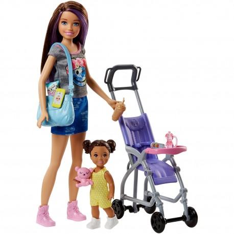 Zestaw Lalka Barbie Opiekunka Z Dzieckiem Fjb00